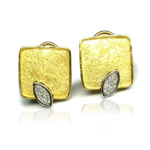 Pendientes oro amarillo y blanco y diamantes. G01100561