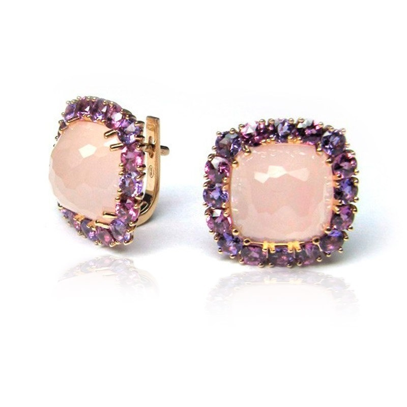 Pendientes oro rosa y cuarzo rosa G07200095