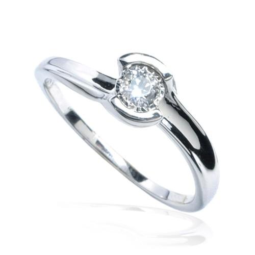 Anillo Compromiso Solitario oro blanco y diamante B01101850