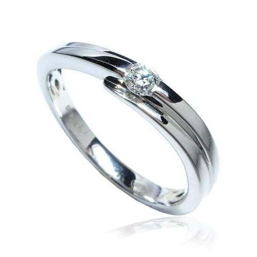 Anillo Compromiso Solitario de oro blanco con diamantes B01101823
