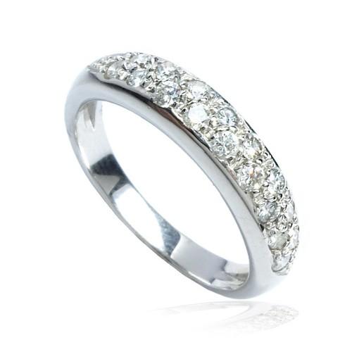 Anillo Media alianza oro blanco y diamantes B01120244