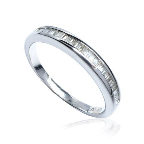 Anillo compromiso - Media alianza oro blanco y diamantes B01101667