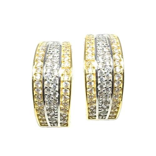 Pendientes oro amarillo y blanco y circonitas G00400258