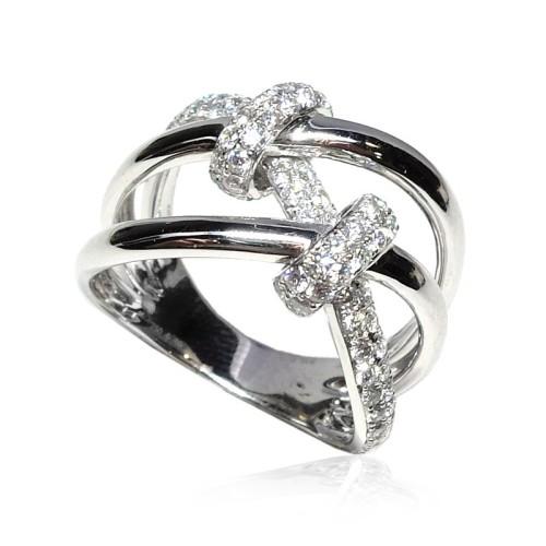 Anillo oro blanco y diamantes Nudos B01101885