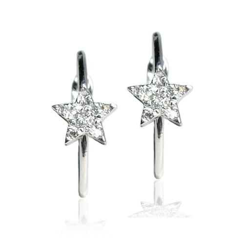 Pendientes oro blanco y diamantes estrella G01101172