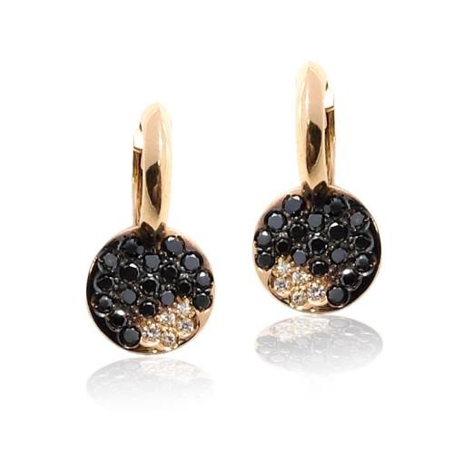 Pendientes oro rosa y diamantes negros y blancos G01101171