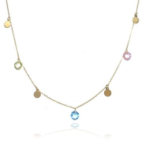 Collar oro amarillo círculos y piedras de color E00100220