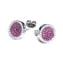 Pendientes oro blanco, diamantes y rubíes G01300011