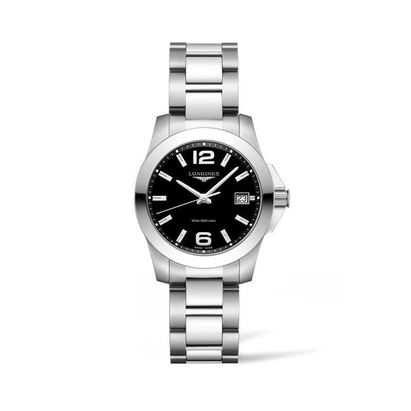Reloj Longines Conquest cuarzo negro 34mm L3.377.4.58.6