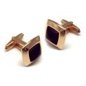 Gemelos de acero rosa con pasta negra piramidal N30000022
