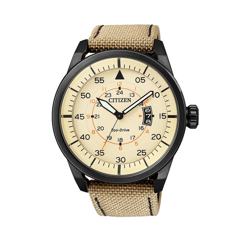 RELOJ CITIZEN OF COLLECTION ECO DRIVE AVIATOR AW1365-19P (Esfera beige)