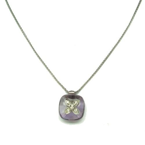 Gargantilla oro blanco, amarista y diamantes E75700001