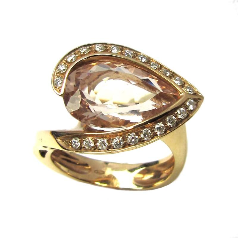 Sortija oro rosa, diamantes y morganita. B01100961