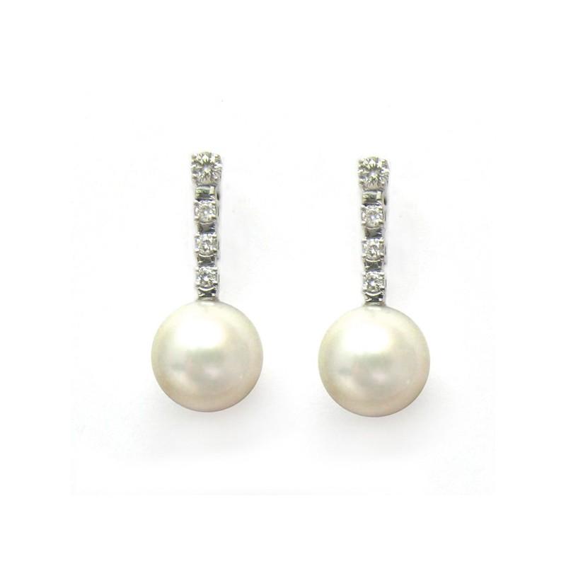 Pendientes de oro blanco con perla cultivada. Ref.: G02720055