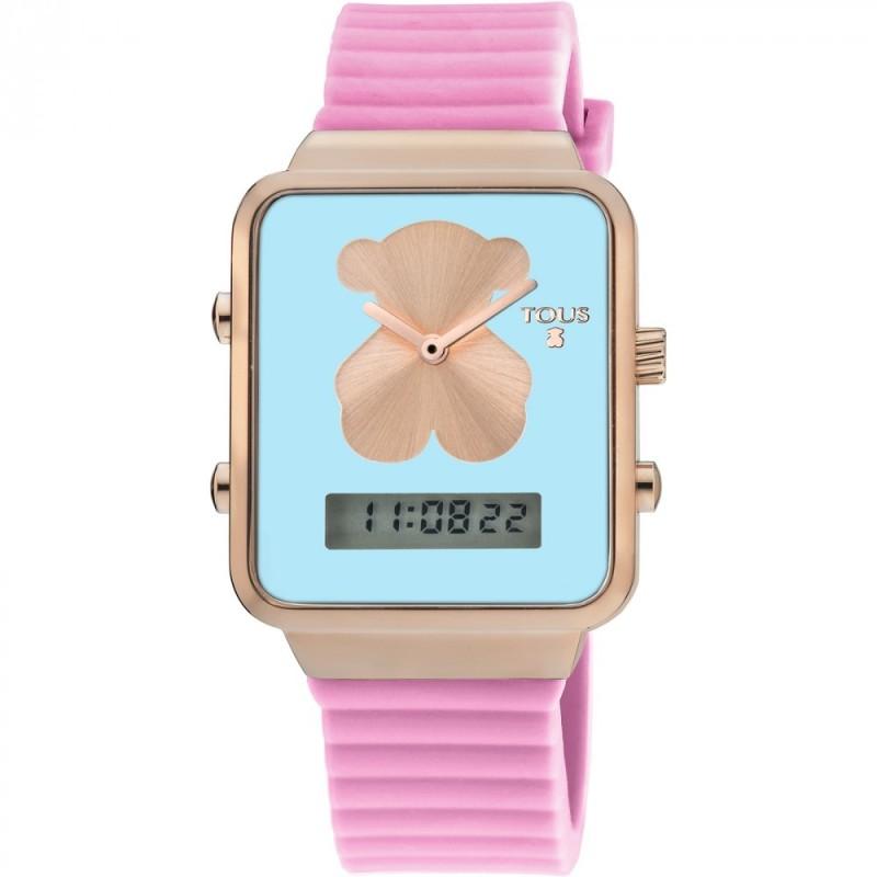 Reloj Tous I-Bear digital de acero rosa con silicona 700350150