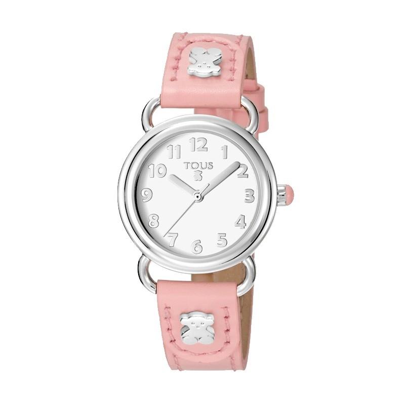 Reloj Tous Baby Bear acero y correa rosa 500350180