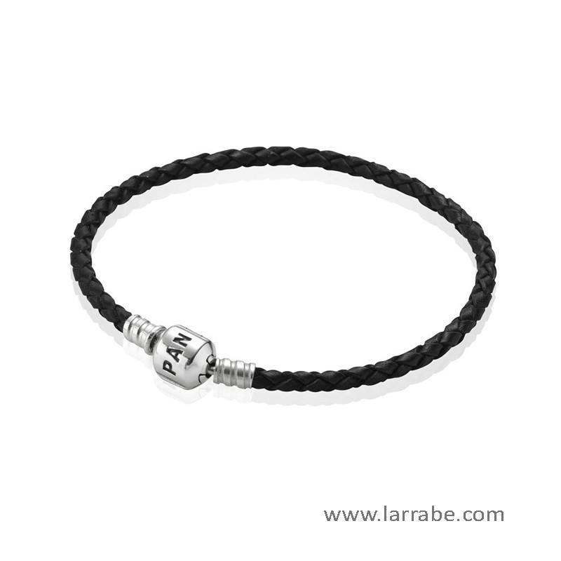 Pulsera Pandora Doble Negra 19 cm
