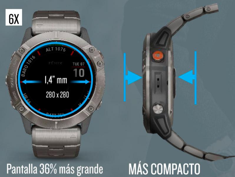 Tamaño del nuevo reloj Garmin Fenix 6X